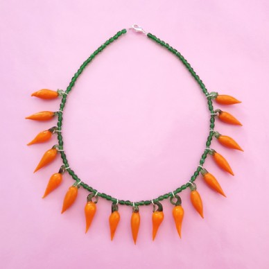 necklace glass orange pepper 72