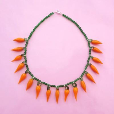 necklace glass orange pepper 72