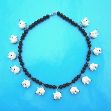 necklace glass rat white 72