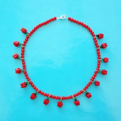 necklace glass red paprika 72