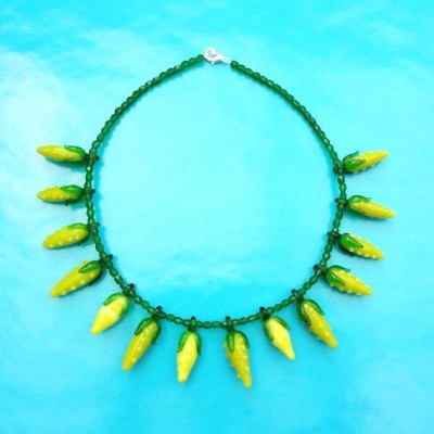 necklace glass yellow fruit 72