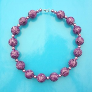 necklace ball flower purple 72