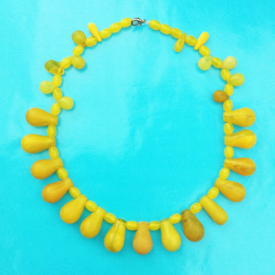 necklace drop glass yellow 72