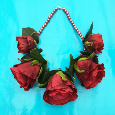 necklace flower silk red roses 72