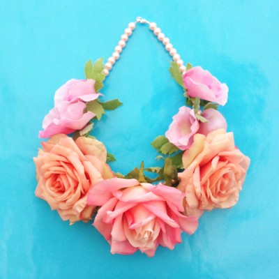 necklace flower silk softsoftpink 72