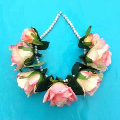 necklace roses pink soft 72