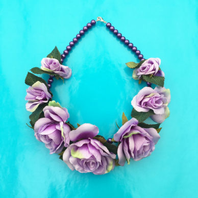 necklace flower silk purple little 72