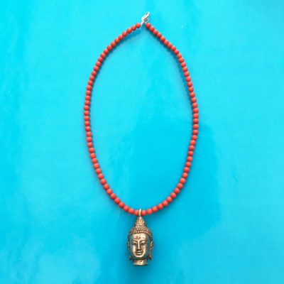 necklace buddha one coral 72
