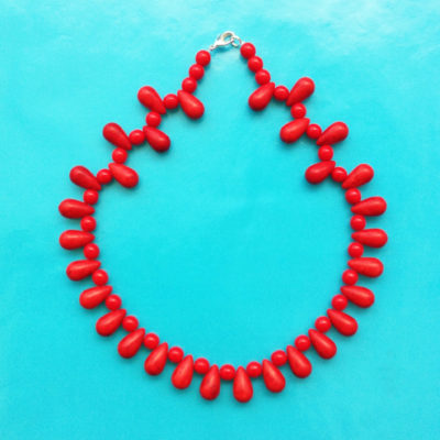 necklace glass drop red small OK 72