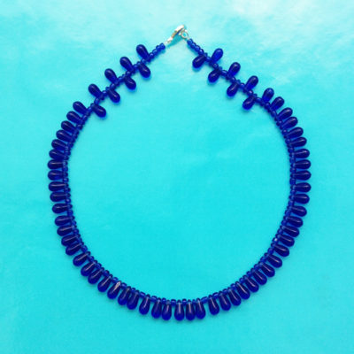 necklace glass drop blue small 72