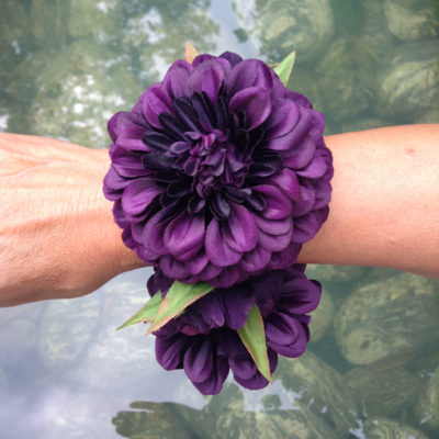 bracelet flower silk purple dark 72