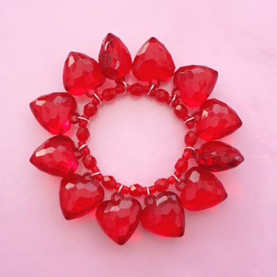 bracelet shine heart red 72