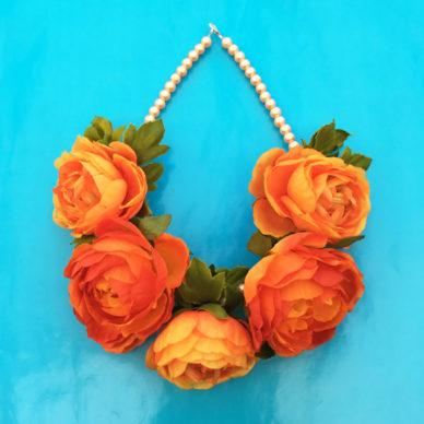 necklace flower silk orange 72