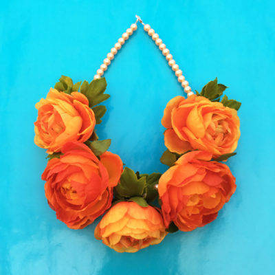 necklace flower silk orange 72