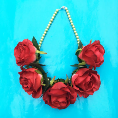 necklace flower silk redrosesbright 72
