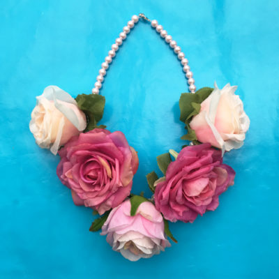 necklace flower silk softpinkdark 2 72