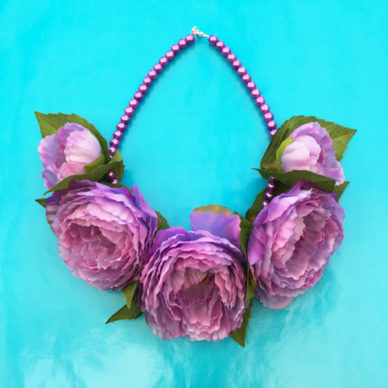 necklace flowers silk purplesoft 72