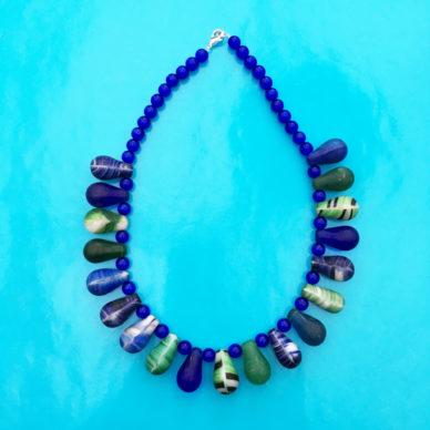 necklace glass drop bluegreen 72