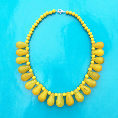 necklace glass drop yellow OK 72