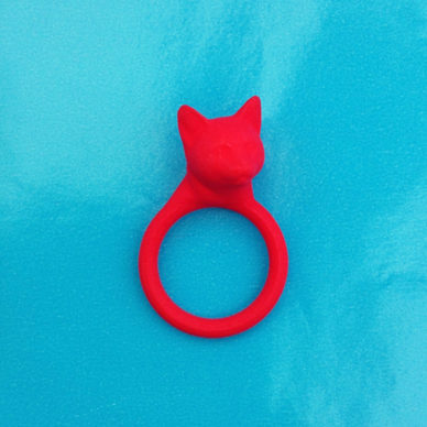 3D ring cat head red 72