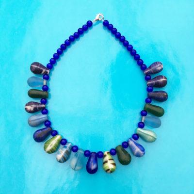 necklace glass drop bluegreen 1 72