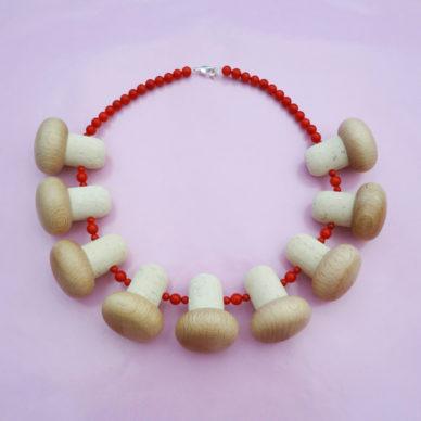 necklace wood mushroom 72