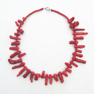 necklace coral red little 72
