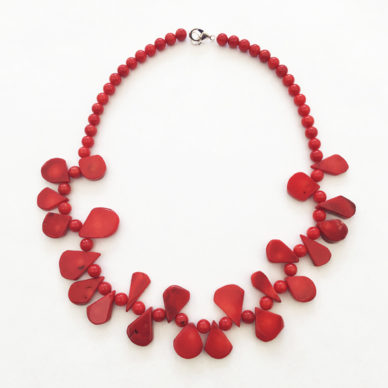 necklace coral red round 72