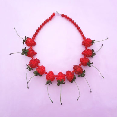 necklace fruit raspberry red 72