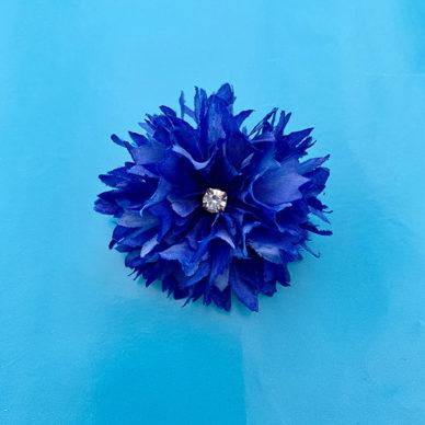 brooch silk flower cornflower 72