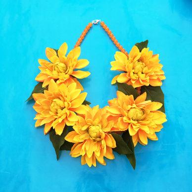 necklace flower silk orange dahlia 72