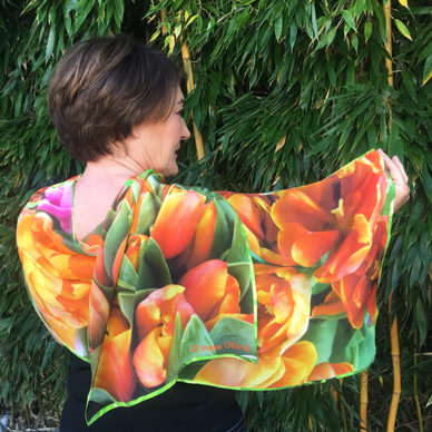 shawl tulips orange 72