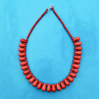 necklace glass drop red little 72