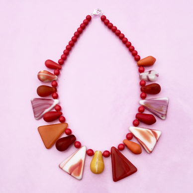 necklace glass drop red orange on pink 72