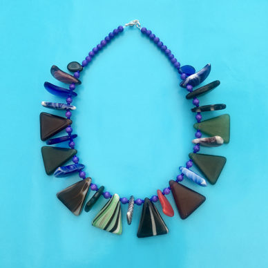 necklace glass drop color green slice 72