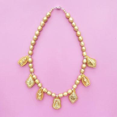 necklace buddha yellow pearls 300